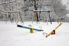 Snowy-Spielplatz Lizenzfreie Stockfotos