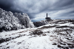Snowy spring in Balkan mountain with view at Buzludzha, Bulgaria Royalty Free Stock Photography