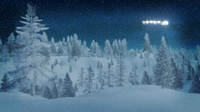 Snowy spruce forest at dreamlike winter night Royalty Free Stock Image