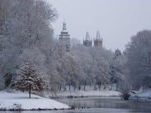 Snowy-Stadt Stockfotografie