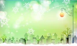 Snowy-Stadt mit grünlicher Szene stockfotos