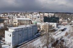 Snowy-Stadtbild von Heidenheim ein der Brenz im Winter Lizenzfreie Stockfotografie