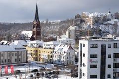 Snowy-Stadtbild von Heidenheim ein der Brenz im Winter Stockbilder