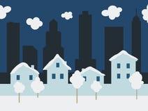 Snowy-Stadtlandschaft lizenzfreie stockfotos