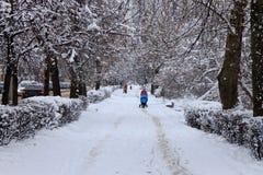 Snowy-Stadtstraße Stockfotos