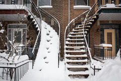 Snowy stairs Stock Images