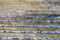 Snowy stairway to up. 10 steps on a stairway leading up Royalty Free Stock Photography