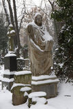 The snowy Statue from the mystery old Prague Cemetery, Czech Republic Stock Images