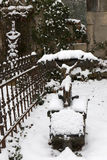 The snowy Statue from the mystery old Prague Cemetery, Czech Republic Stock Photos
