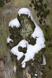 The snowy Statue from the mystery old Prague Cemetery, Czech Republic Stock Photo