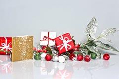 Snowy-Stechpalmebeere mit Geschenken Stockbild