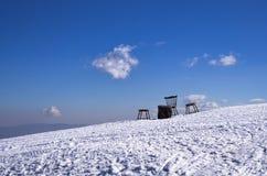 Snowy-Steigung in 3-5 Pigadia der Skimitte, Naoussa, Griechenland Lizenzfreie Stockfotos