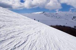 Snowy-Steigung in 3-5 Pigadia der Skimitte, Naoussa, Griechenland Lizenzfreies Stockbild