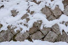 Snowy-Steinwand Lizenzfreie Stockfotografie