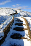 Snowy steps. Steps up to the summit of Herefordshire Beacon on the Malvern Hills Worcestershire UK Royalty Free Stock Image