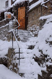 Snowy Steps of the Hotel Stock Photo