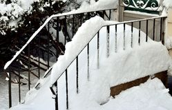 Snowy steps. Stock Photos