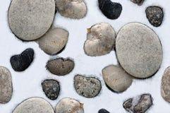 Snowy stones Stock Image