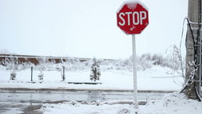 Snowy Stop Traffic Sign stock footage