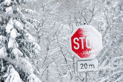 Snowy Stop Traffic Sign Stock Photography