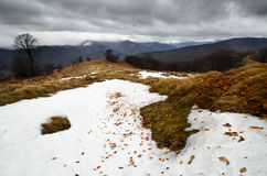 Snowy stormy mountains Royalty Free Stock Images