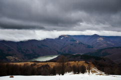 Snowy stormy mountains Stock Photo