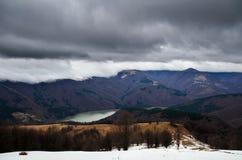 Snowy stormy mountains Stock Photo