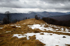 Snowy stormy mountains Royalty Free Stock Photo