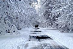 Snowy-Straße Stockfotografie
