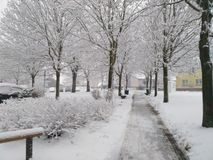 Snowy-Straße Lizenzfreie Stockfotografie