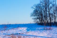 Snowy-Straße auf Winterwald bei Sonnenuntergang Stockfotografie