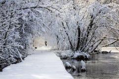 Snowy-Straße durch das Wasser Stockbilder