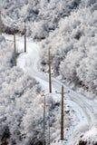 Snowy-Straße im winterlichen Wald Lizenzfreies Stockfoto