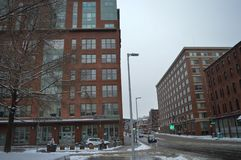 Snowy-Straße nach Wintersturm in Boston, USA am 11. Dezember 2016 Stockfoto