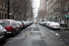 Snowy-Straße in NYC Stockfoto