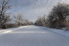 Snowy-Straße in Sunny Day Lizenzfreie Stockbilder