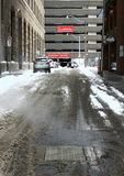Snowy-Straßen lizenzfreie stockbilder