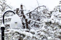 Snowy-Straßenlaterne im Schneeblizzard Moderne ökologische Beleuchtung Winter-Stimmung Stockbilder
