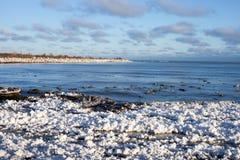 Snowy-Strand Stockfoto
