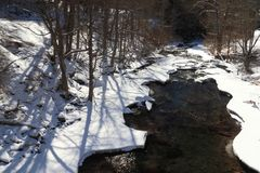 Snowy stream banks Royalty Free Stock Photography
