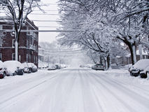 Snowy street. On the east coast Royalty Free Stock Photo