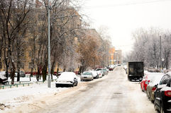 Snowy street Royalty Free Stock Photos