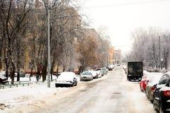 Snowy street Royalty Free Stock Photos