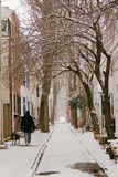 Snowy Street. Light snow along tiny Panama Street in Philadelphia, PA (between 24th and 25th Sts Royalty Free Stock Photo