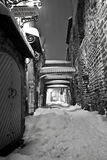 Snowy street in Tallinn, Estonia Royalty Free Stock Photo