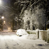 Snowy Street Stock Photo
