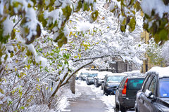 Snowy street Royalty Free Stock Image