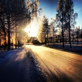 Snowy street Royalty Free Stock Images