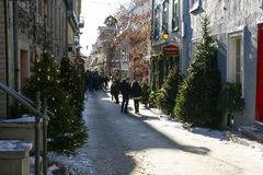 Snowy Street in Historic Downtown of Quebec City Royalty Free Stock Image