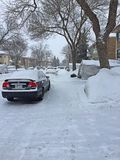 Snowy street. Near to Royalty Free Stock Photo